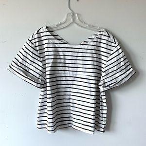J. Crew | Black & White Striped Cropped Blouse M